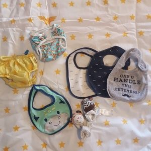 Other - Baby accessory lot (swimsuit, bibs, rattle shoes)